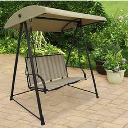 Outdoor Patio Glider Swing Chair w Canopy 2 Person Lounge Lo