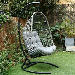 Outdoor Patio Large Size Hanging Egg Swing Chair Wicker w/ S
