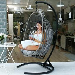 Outdoor Patio Large Size Hanging Egg Swing Chair w/ Stand Po