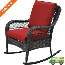 Outdoor Patio Porch Deck Terrace Rocking Chair Wicker Steel