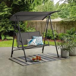 Mainstays Outdoor Patio Steel 2-Person Porch Swing,Black Fra