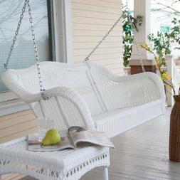 Outdoor Patio White Resin Wicker Porch Swing Loveseat Hangin