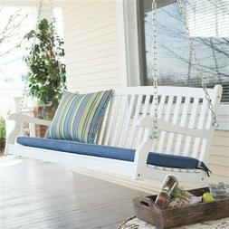 Outdoor Patio White Wooden Porch Swing