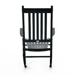 Outsunny Wooden Outdoor Porch or Patio Rocking Chair Black