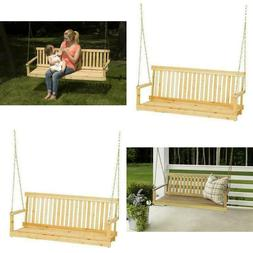 Outdoor Porch Swing Natural Wood Tree Chains 5 ft Seating Be