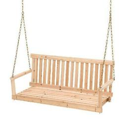 Wooden Porch Swing 4ft Natural Wood Patio Outdoor Bench Hang
