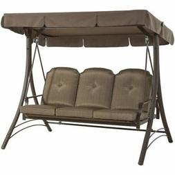 Outdoor Porch Swing With Canopy Patio Steel Furniture Conver