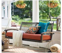 Outdoor Porch Swing with Cushion Resin Wicker Seating Hangin