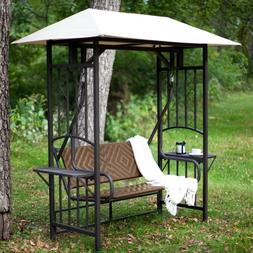 Outdoor Resin Wicker 2-Person Canopy Porch Swing Loveseat