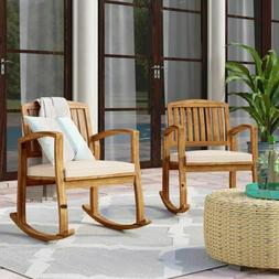 Outdoor Rocking Chair Set of 2 Patio Porch Pool Solid Wood w