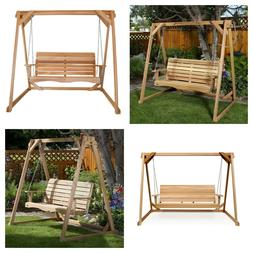 Outdoor Solid Wood Garden Porch Swing With A-Frame Stand Han