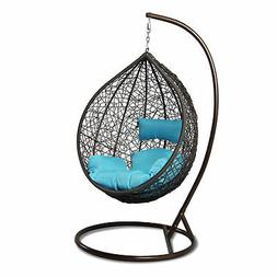 Outdoor Strong Rattan Hanging Proch Wicker Swing Chair Blue