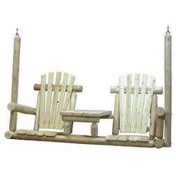 Outdoor Swing 2 Person Hanging Bench Chair Natural Cedar Woo