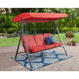 Outdoor Swing Patio 3 Seat Cushion Swing With Canopy Steel F