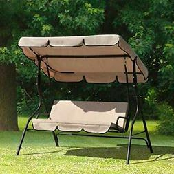 Outdoor Swing Patio Porch Steel 3 Person Lounge Chair Seats