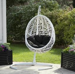 Outdoor White Wicker Hanging Egg Chair w Stand Cushion Patio
