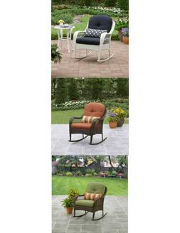 Outdoor Wicker Rocking Chair Deck Porch Comfort Pillow Rocke