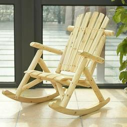 Outdoor Wood Rocking Chair Rustic Log Patio Garden Furniture