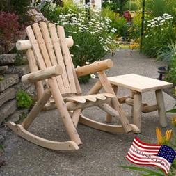 Outdoor Wood Rocking Chair Rustic Cedar Log Patio Garden Fur