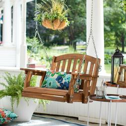 Outdoor Wooden Porch Swing Hanging Chair Single Seat Furnitu