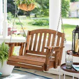 Outdoor Wooden Single Seat Porch Swing Hanging Chair Furnitu
