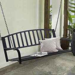 Outsuny Porch Swing Steel 2 Person Seating Heavy Duty Black