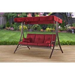 Mainstay Patio Canopy Metal Porch Swing 3-Seat Solid Print C