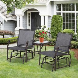 Patio Double Glider Chairs Garden Bench with Center Table Ba