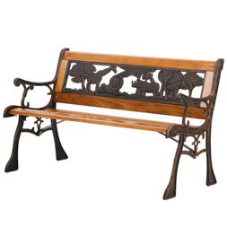 Patio Garden Bench Park Porch Chair Cast Iron Hardwood Furni