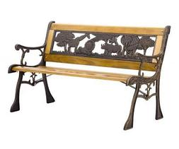 Patio Garden Bench Park Porch Chair Cast Iron Hardwood Furni