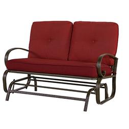 Patio Love Seat Bench Rocking Glider 2 Person Lounge Swing F