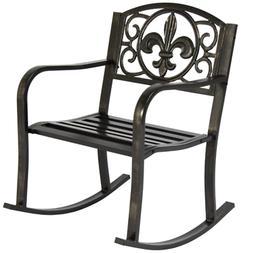 Patio Metal Rocking Chair Porch Seat Deck Outdoor Backyard G