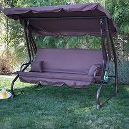 Belleze Patio Outdoor Padded Porch Swing Bed with Adjustable