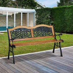 "Outdoor 50"" Patio Porch Deck Hardwood Cast Iron Garden Bench"