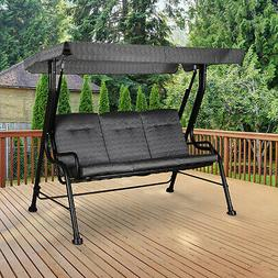 Outsunny Patio Porch Swing Bench w/ Included Shade Awning &