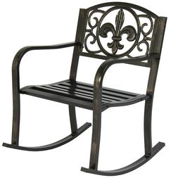 Patio Rocking Chair Metal Outdoor Porch Furniture Rocker Sea