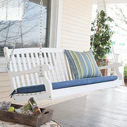 Patio Swing for Two Persons Wood Durable White Finish Coral