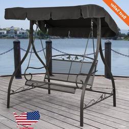 Patio Outdoor Swing Canopy Backyard Porch Furniture 2 Seat W