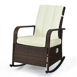 Patio Wicker Rocking Chair Porch Garden Lawn Deck Adjustable