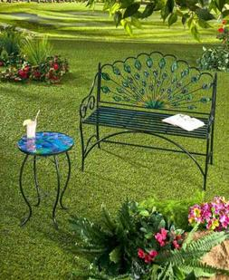 Peacock Bench Table Metal Garden Decor Colorful Glass Top Ir