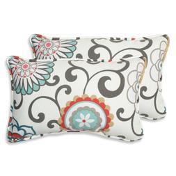 Pillow Perfect Outdoor Pom Pom Play Peachtini Rectangular Th