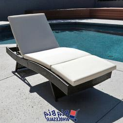 Pool Rattan Chaise Lounge Chair Outdoor Patio Sun Bed Porch