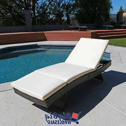 Pool Chaise Lounge Chair Outdoor Patio Sunbed Porch Rattan F