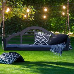 Porch Hanging Swing with Cushion 5ft Black Outdoor Deck Chai