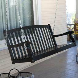 Porch Swing 4 Ft Wood Durable Black Finish Patio Outdoor Fur