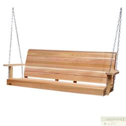 Porch Swing 6 Ft Red Cedar Crafted w/Mounting Chain Kit Cont