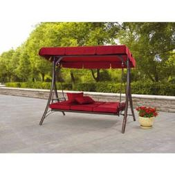 Porch Swing With Canopy Cover Red Cushion Patio Bed Outdoor