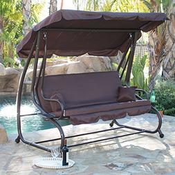 Belleze Porch Swing Bed Cushioned Adjustable UV Resistant Su