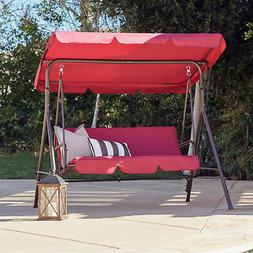 Porch Swing Soft Cushioned Sunlight Protection 3 Seat Polyes