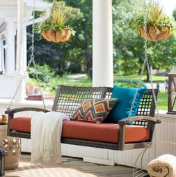 Porch Swing with Cushion Resin Wicker Steel Frame Chain Deck